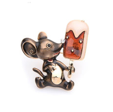 Free Friendly Mouse Brooch (Silver Color)