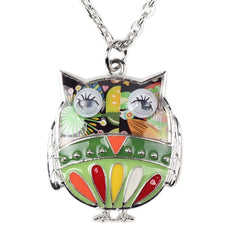 Owl Multicolor Enamel Necklace