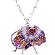 Multicolor Frilled Dragon Necklace