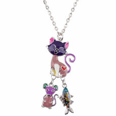 Cat, Mouse and Fish Necklace