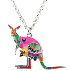 Multicolor Kangaroo Mom&Baby Necklace