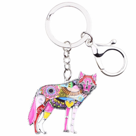 Multicolor Wolf Keychain