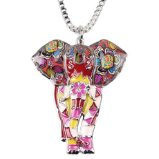 Multicolor Big Elephant Necklace