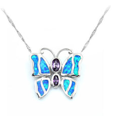 Fire Opal Butterfly Necklace