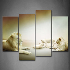 4 Panel Lion Family Wall Canvas