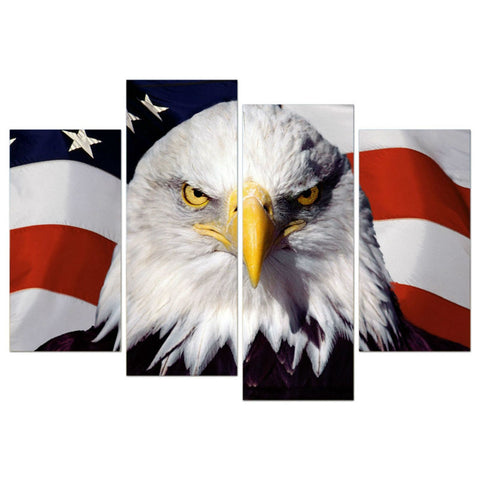 4 Panels Eagle Wall Canvas