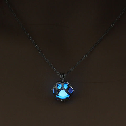 Glow in the Dark Paw Necklace
