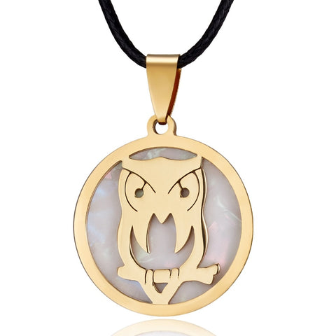 Owl Round Stainless Steel Necklace