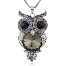 Crystal Black Owl Necklace