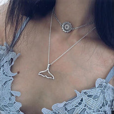 Free Flower and Whale Tail Necklace