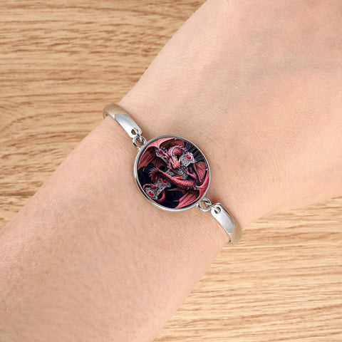 Red Dragon Round Cameo Bracelet