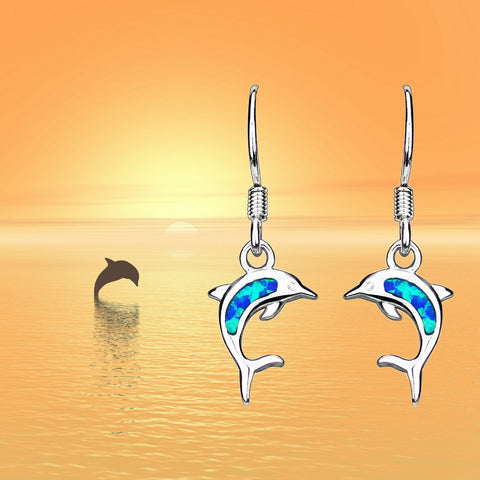 Opal Ocean Dolphin Earrings