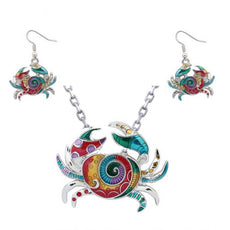 Crab Necklace and Earrings Set