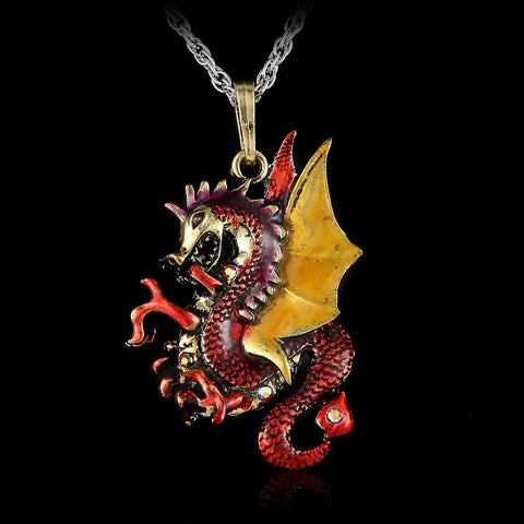 Colorful Vintage Dragon Necklace