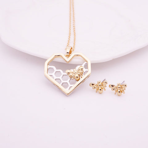 Bee Necklace And Earrings Set