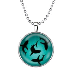Sharks Round Cameo - Necklace
