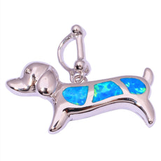 Blue Fire Opal Dog Necklace
