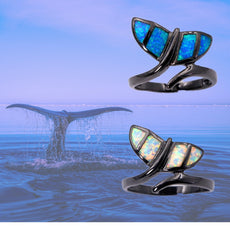 Black Whale Tail Opal Ring