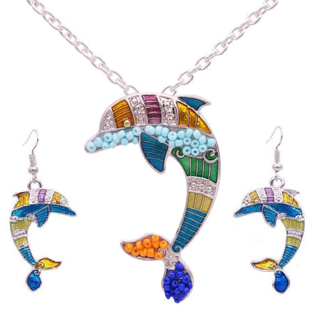 Wholesale Dolphin Necklace and Earrings Set (12x Pack)