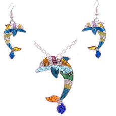 Dolphin Necklace and Earrings Set