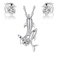 Double Dolphin Necklace And Earrings Set