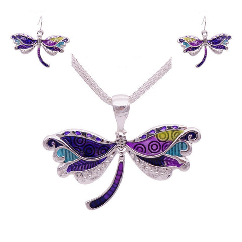 Wholesale Dragonfly Necklace and Earrings Set (12x Pack)