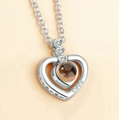 I♥U in 100 Languages Beating Heart Necklace