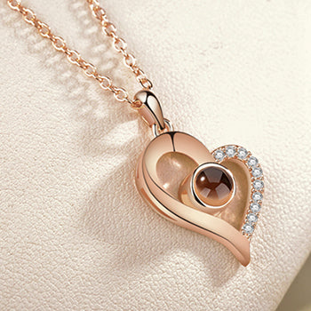 I♥U in 100 Languages Lovely Heart Necklace