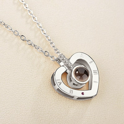 I♥U in 100 Languages Roman Heart Necklace
