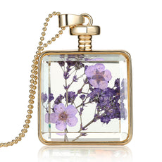 Dried Purple Flowers Gold Necklace
