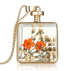 Dried Orange Flowers Gold Necklace