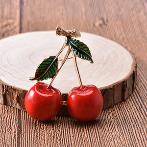 Free Red Cherry Brooch