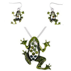 Green Frog Necklace And Earrings Set