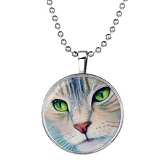 Cat Face Glow In the Dark Round Cameo - Necklace
