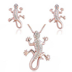 Gecko Necklace and Earrings Set  (2 Color Styles)