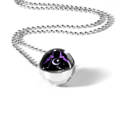 Zodiac Sign Double Glass Necklace