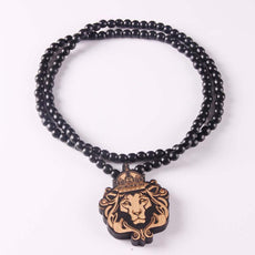 Wood Lion Head Necklace