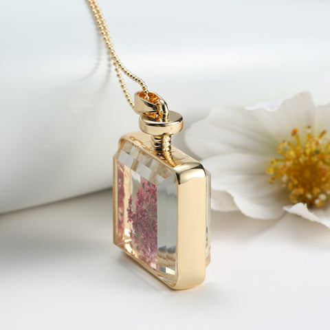 Dried Pink Flowers Square Necklace