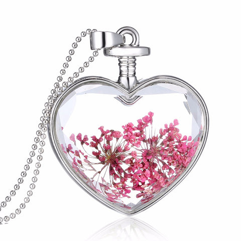 Dried Pink Flowers Silver Heart Necklace