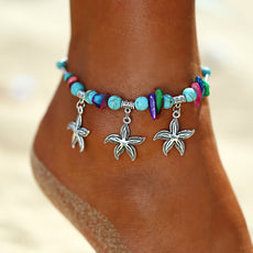 Starfishes and Multicolor Beads Anklet
