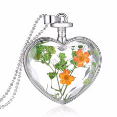 Dried Green and Orange Flowers Silver Heart Necklace