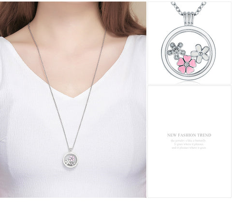 Floating Flowers in bloom Silver Necklace