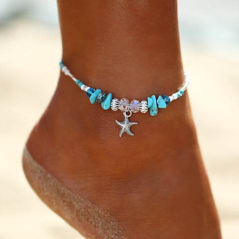 Starfish and Blue Beads Anklet