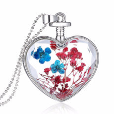 Dried Blue and Red Flowers Silver Heart Necklace