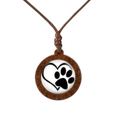 I love Paws  Wood Necklace