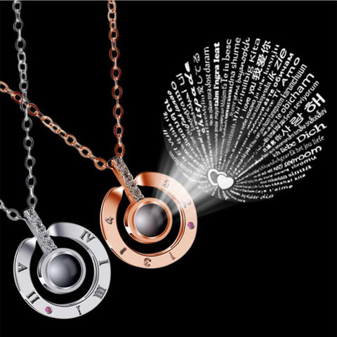 I♥U in 100 Languages My Home Necklace