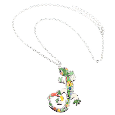 Ambled Gecko Enamel Necklace
