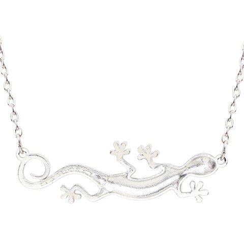 Crawling Gecko Enamel Necklace