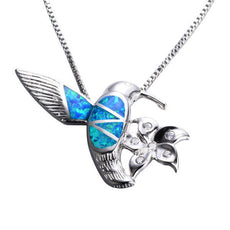 Fire Blue Opal Bird Necklace