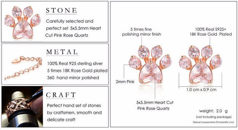 Sterling Silver Rose Paw™ Earrings